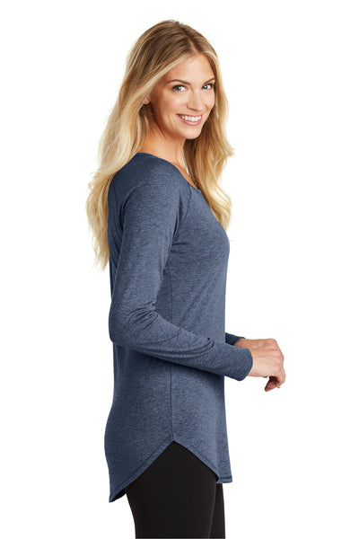District DT132L Womens Perfect Tri Long Sleeve Crewneck T-Shirt Navy Blue Frost Side