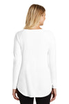 District DT132L Womens Perfect Tri Long Sleeve Crewneck T-Shirt White Back