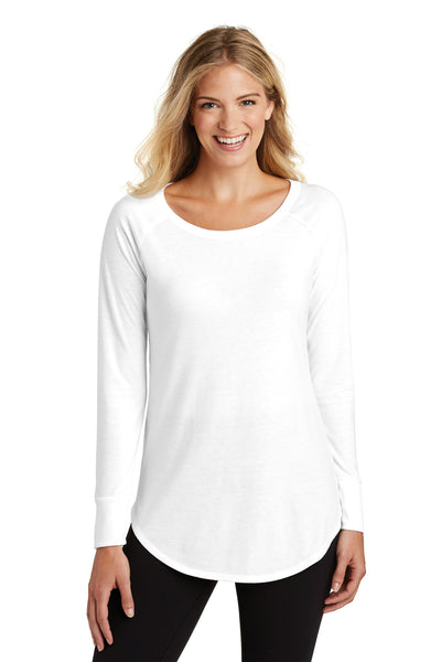 District DT132L Womens Perfect Tri Long Sleeve Crewneck T-Shirt White Front