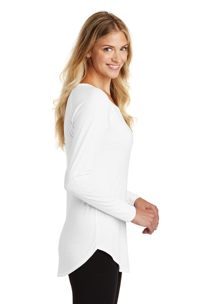 District DT132L Womens Perfect Tri Long Sleeve Crewneck T-Shirt White Side