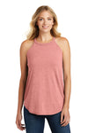 District DT137L Womens Perfect Tri Rocker Tank Top Blush Pink Frost Front