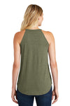 District DT137L Womens Perfect Tri Rocker Tank Top Military Green Frost Back