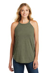 District DT137L Womens Perfect Tri Rocker Tank Top Military Green Frost Front