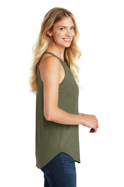 District DT137L Womens Perfect Tri Rocker Tank Top Military Green Frost Side