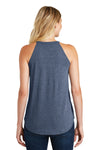 District DT137L Womens Perfect Tri Rocker Tank Top Navy Blue Frost Back