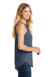 District DT137L Womens Perfect Tri Rocker Tank Top Navy Blue Frost Side