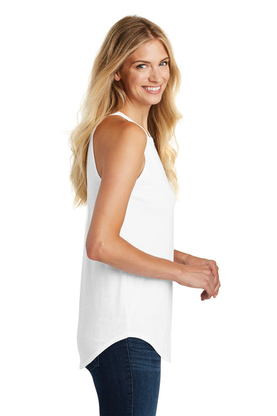 District DT137L Womens Perfect Tri Rocker Tank Top White Side
