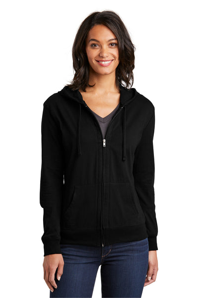 District DT2100 Womens Full Zip Hooded Sweatshirt Hoodie Black Front