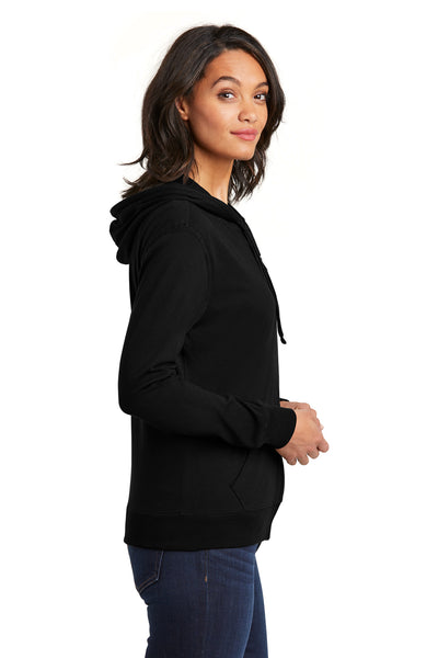 District DT2100 Womens Full Zip Hooded Sweatshirt Hoodie Black Side