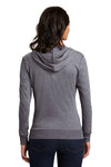 District DT2100 Womens Full Zip Hooded Sweatshirt Hoodie Dark Grey Back
