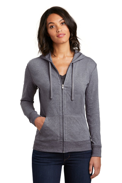 District DT2100 Womens Full Zip Hooded Sweatshirt Hoodie Dark Grey Front