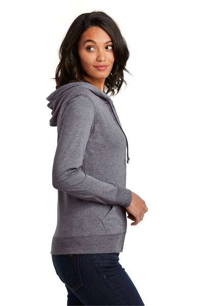 District DT2100 Womens Full Zip Hooded Sweatshirt Hoodie Dark Grey Side