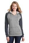 District DT296 Womens Fleece Hooded Sweatshirt Hoodie Heather Grey/Grey Front