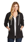 District DT456 Womens Perfect French Terry Full Zip Hooded Sweatshirt Hoodie Black Front