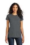 District DT5001 Womens The Concert Short Sleeve Crewneck T-Shirt Charcoal Grey Front