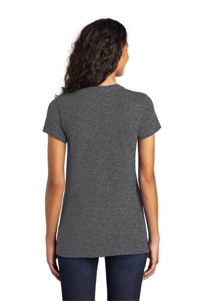 District DT5001 Womens The Concert Short Sleeve Crewneck T-Shirt Heather Charcoal Grey Back