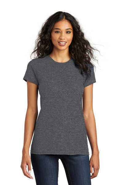 District DT5001 Womens The Concert Short Sleeve Crewneck T-Shirt Heather Charcoal Grey Front