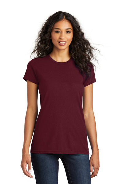 District DT5001 Womens The Concert Short Sleeve Crewneck T-Shirt Maroon Front
