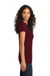 District DT5001 Womens The Concert Short Sleeve Crewneck T-Shirt Maroon Side
