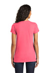 District DT5001 Womens The Concert Short Sleeve Crewneck T-Shirt Neon Pink Back