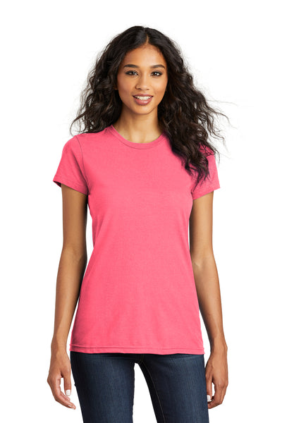 District DT5001 Womens The Concert Short Sleeve Crewneck T-Shirt Neon Pink Front