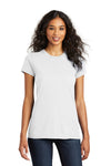 District DT5001 Womens The Concert Short Sleeve Crewneck T-Shirt White Front