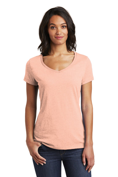 District DT6503 Womens Very Important Short Sleeve V-Neck T-Shirt Dusty Peach Front