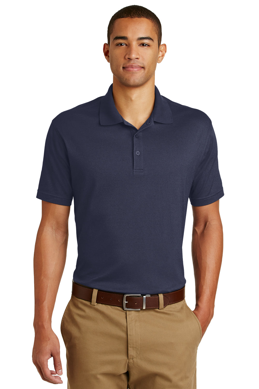 Eddie Bauer EB102 Mens UPF 30+ Performance Short Sleeve Polo Shirt Navy Blue Front