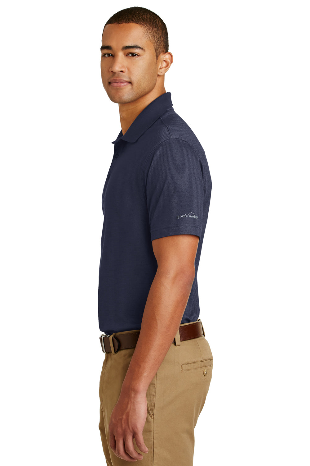 Eddie Bauer EB102 Mens UPF 30+ Performance Short Sleeve Polo Shirt Navy Blue Side