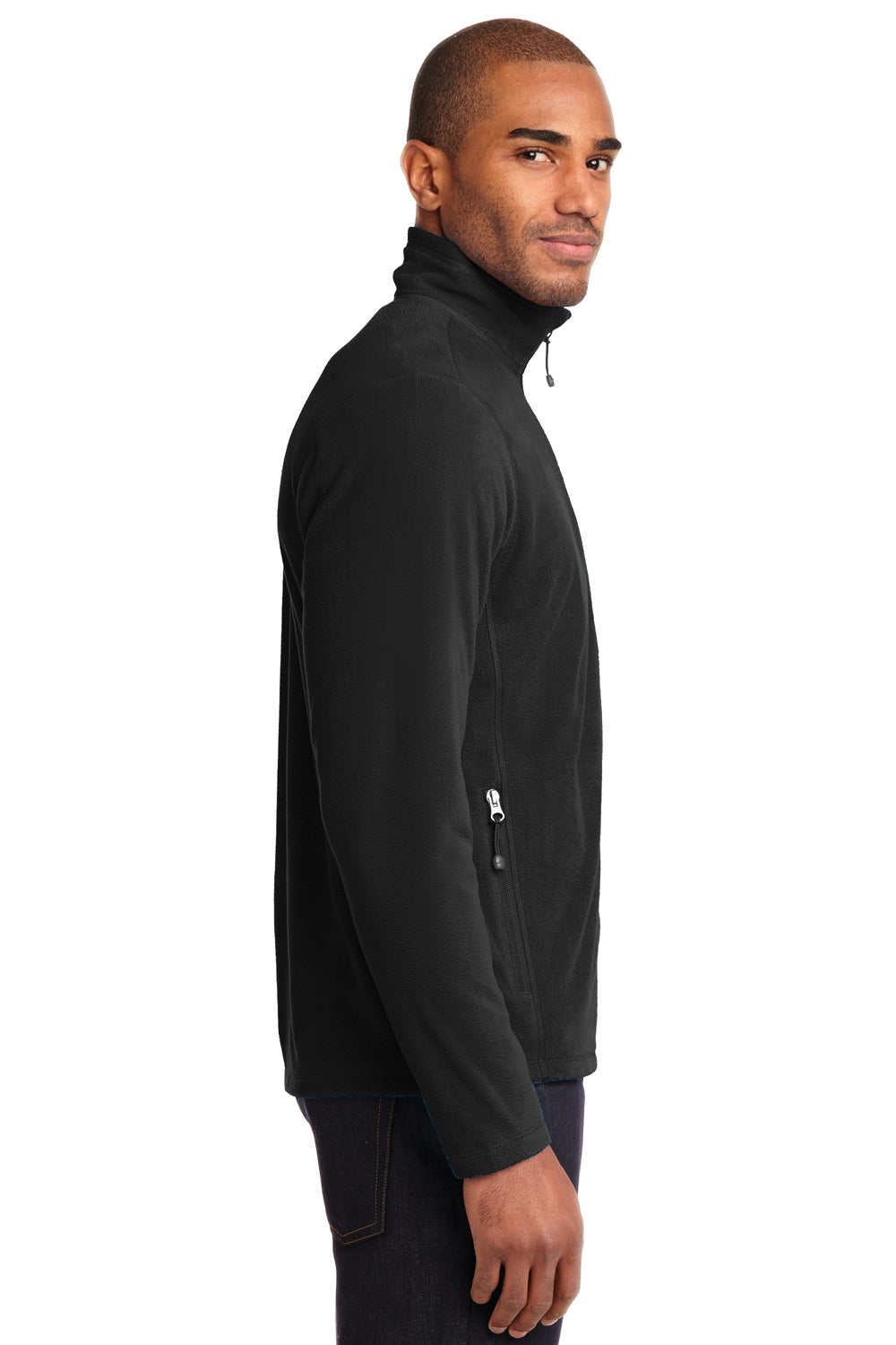 Eddie Bauer EB224 Mens Full Zip Microfleece Jacket Black Side