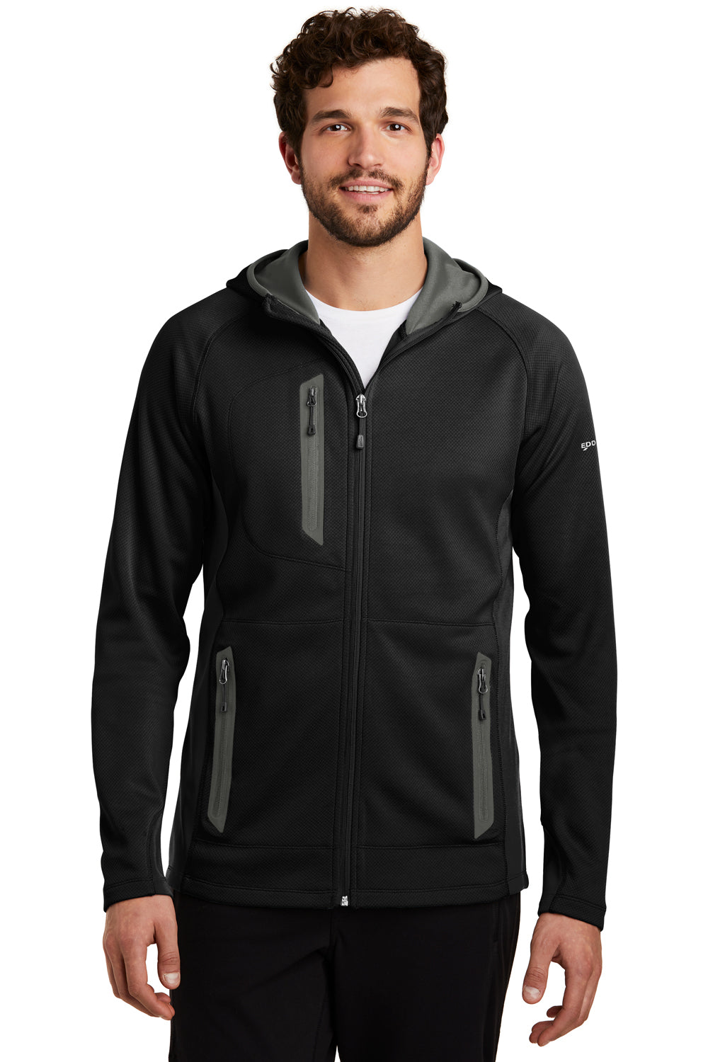 Eddie Bauer EB244 Mens Sport Full Zip Fleece Hooded Jacket Black Front