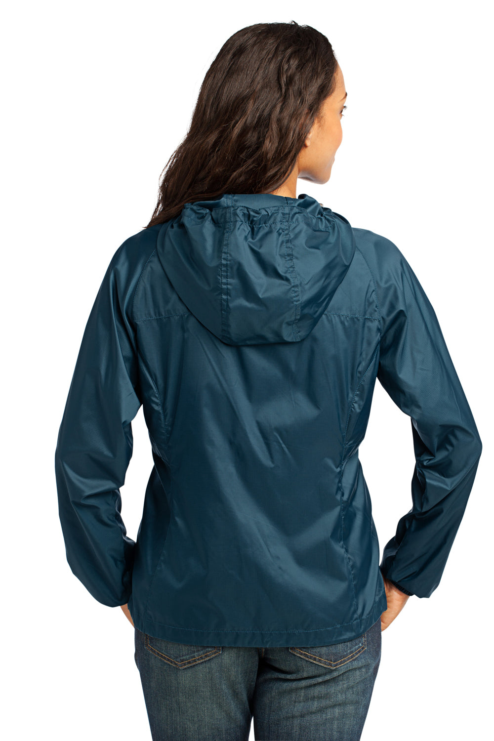 Eddie Bauer EB501 Womens Packable Wind Resistant Full Zip Hooded Wind Jacket Adriatic Blue Back