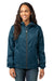Eddie Bauer EB501 Womens Packable Wind Resistant Full Zip Hooded Wind Jacket Adriatic Blue Front