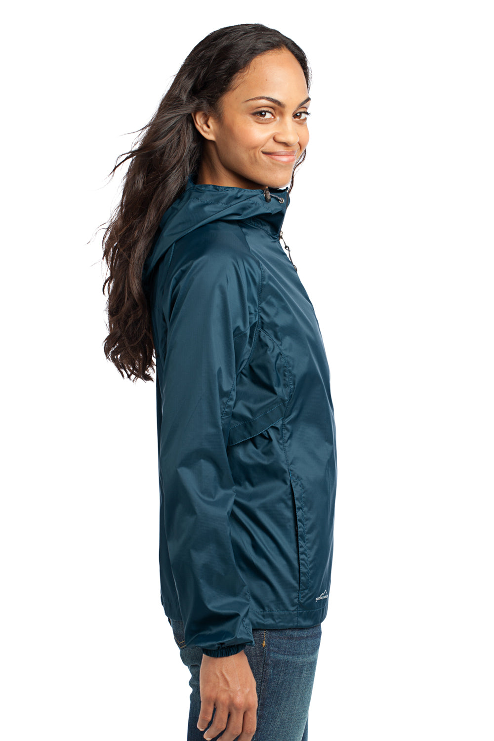 Eddie Bauer EB501 Womens Packable Wind Resistant Full Zip Hooded Wind Jacket Adriatic Blue Side