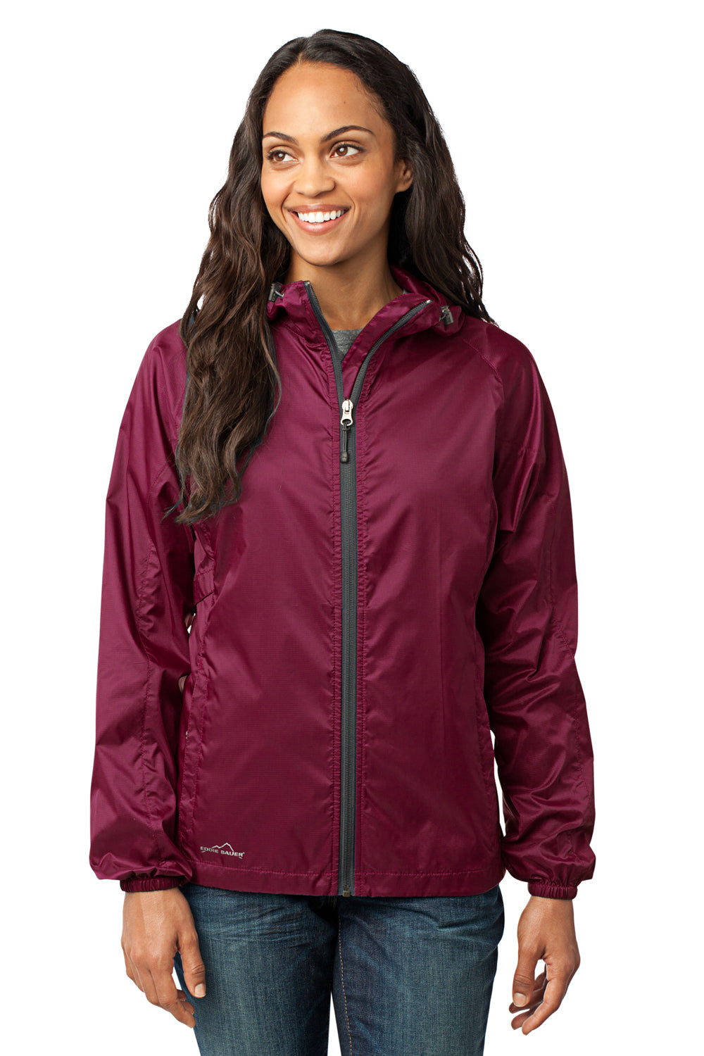 Eddie Bauer EB501 Womens Packable Wind Resistant Full Zip Hooded Wind Jacket Black Cherry Red Front