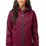 Eddie Bauer Womens Black Cherry Purple Packable Wind Resistant Full Zip Hooded Wind Jacket