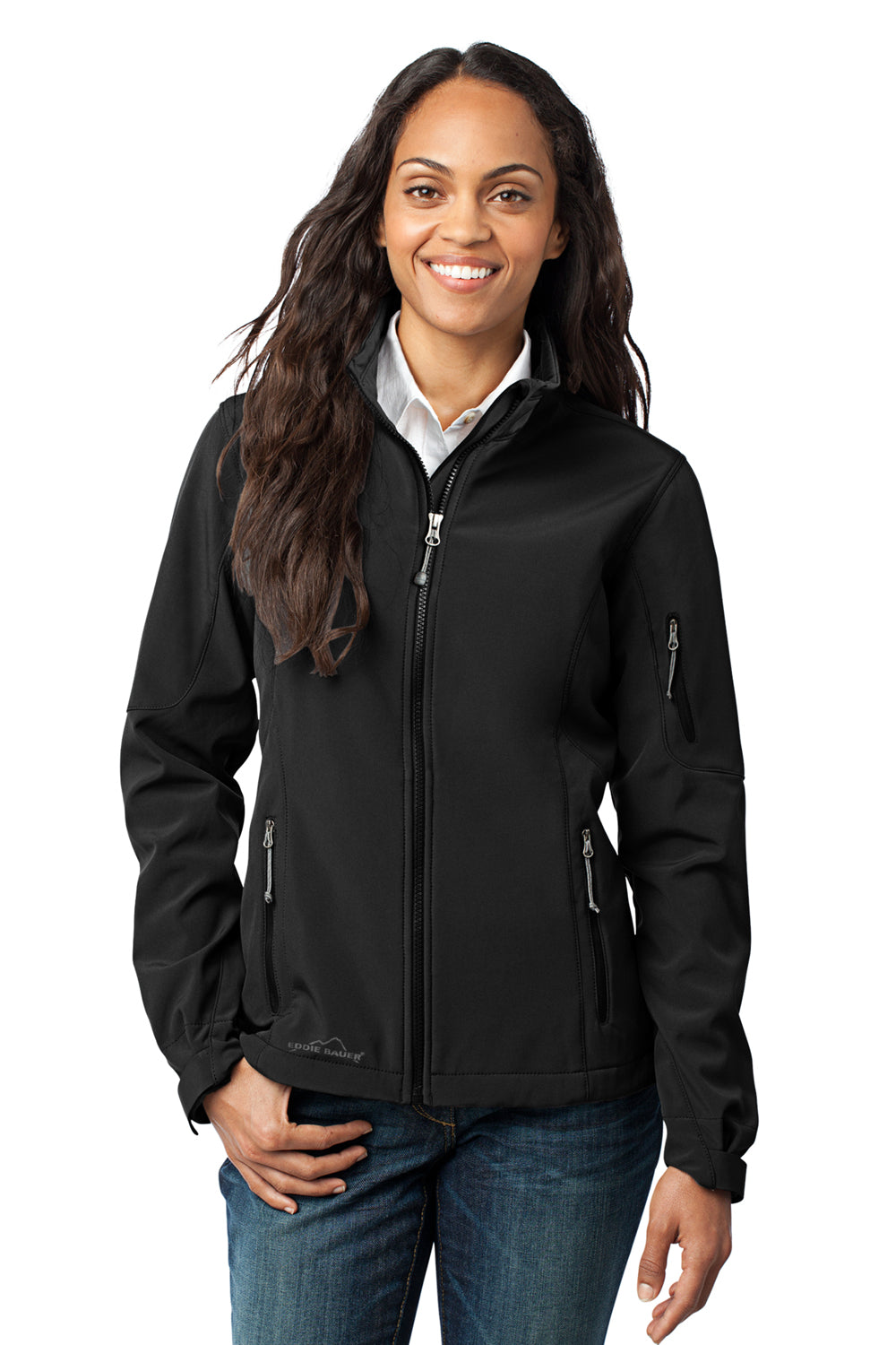 Eddie Bauer EB531 Womens Water Resistant Full Zip Jacket Black Front