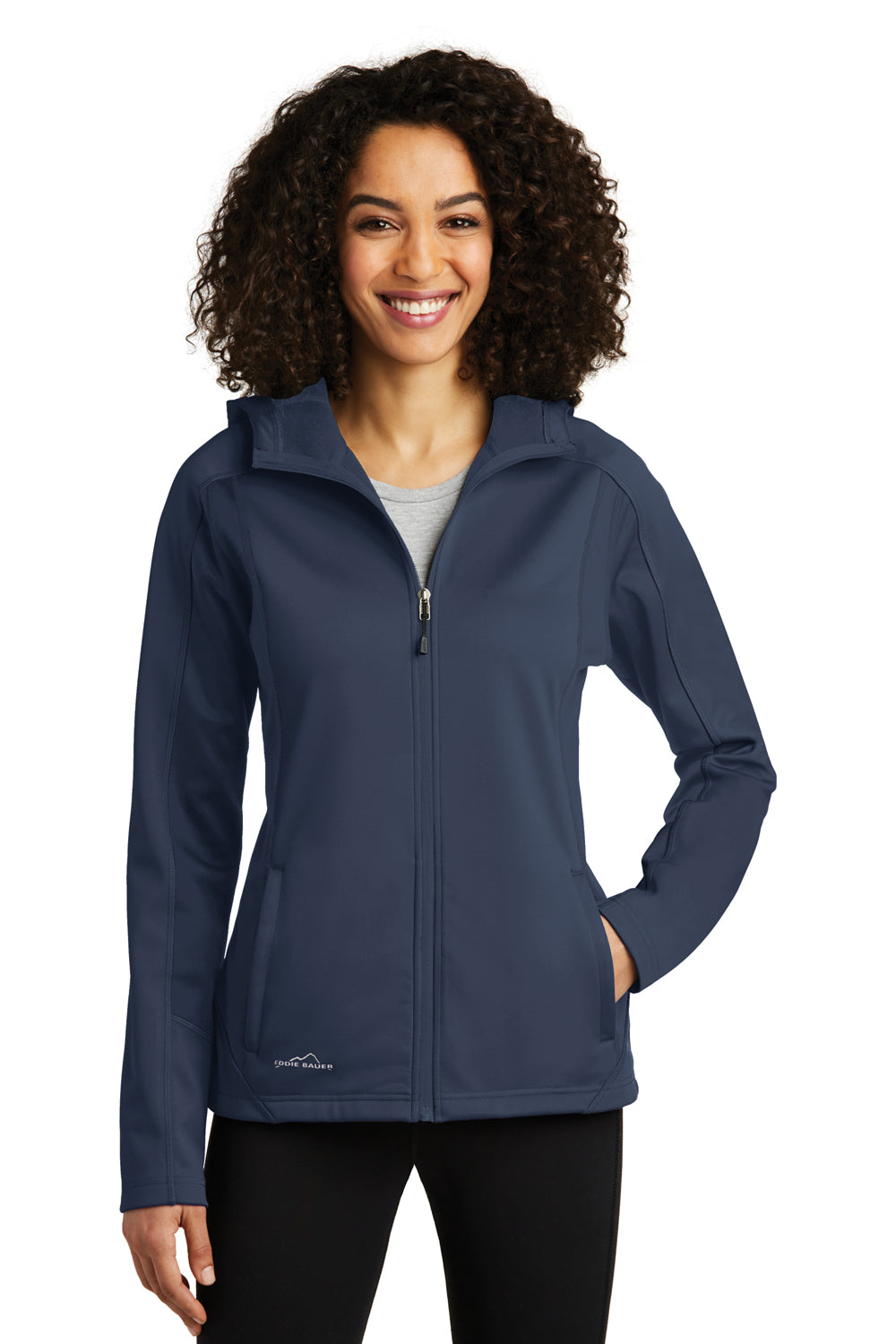 Eddie Bauer EB543 Womens Trail Water Resistant Full Zip Hooded Jacket River Blue Front