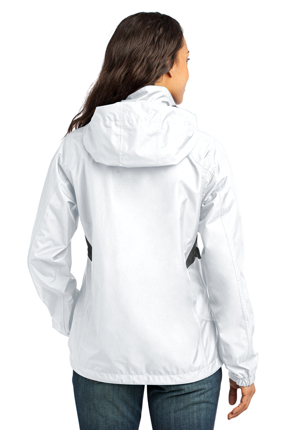 Eddie Bauer EB551 Womens Waterproof Full Zip Hooded Jacket White Back