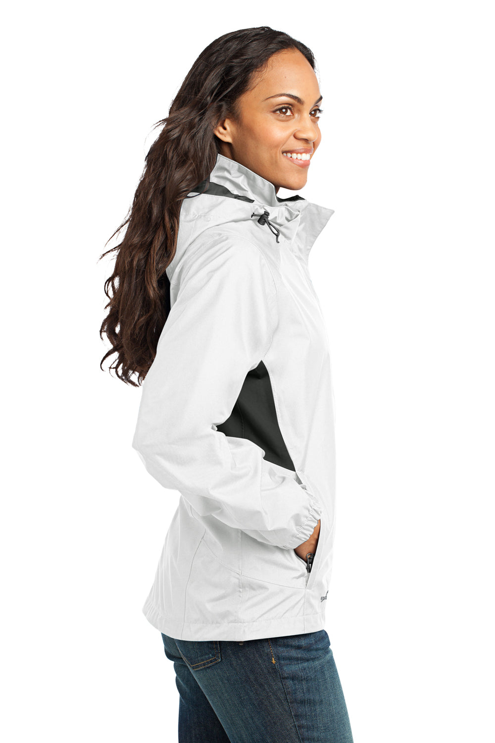 Eddie Bauer EB551 Womens Waterproof Full Zip Hooded Jacket White Side