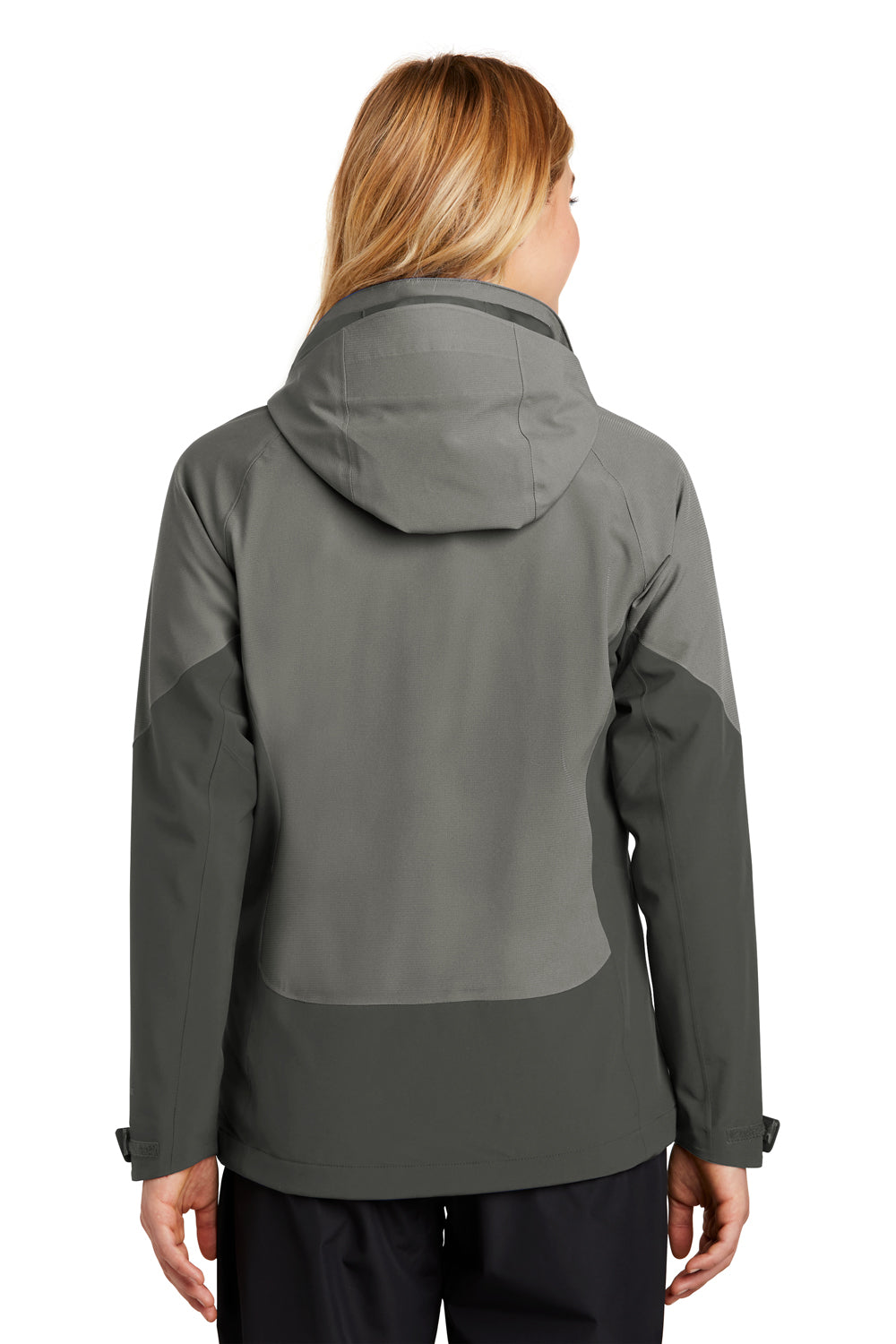 Eddie Bauer EB559 Womens WeatherEdge Waterproof Full Zip Hooded Jacket Metal Grey Back