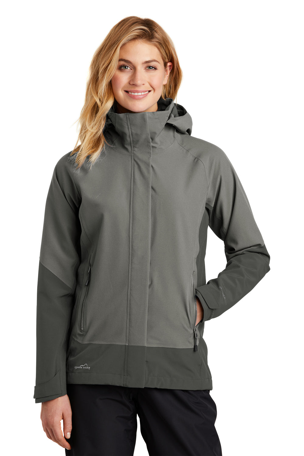 Eddie Bauer EB559 Womens WeatherEdge Waterproof Full Zip Hooded Jacket Metal Grey Front