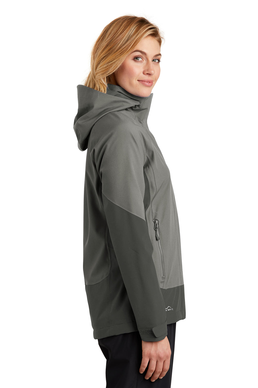 Eddie Bauer EB559 Womens WeatherEdge Waterproof Full Zip Hooded Jacket Metal Grey Side