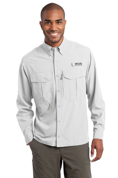 Eddie Bauer EB600 Mens Performance Fishing Moisture Wicking Long Sleeve Button Down Shirt w/ Double Pockets White Front