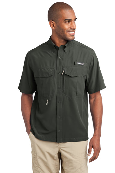 Eddie Bauer EB602 Mens Performance Fishing Moisture Wicking Short Sleeve Button Down Shirt w/ Double Pockets Boulder Front