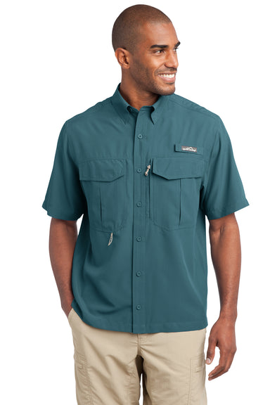 Eddie Bauer EB602 Mens Performance Fishing Moisture Wicking Short Sleeve Button Down Shirt w/ Double Pockets Gulf Teal Front