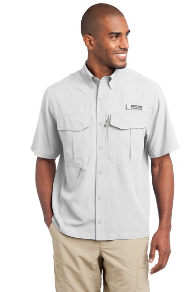 Eddie Bauer EB602 Mens Performance Fishing Moisture Wicking Short Sleeve Button Down Shirt w/ Double Pockets White Front