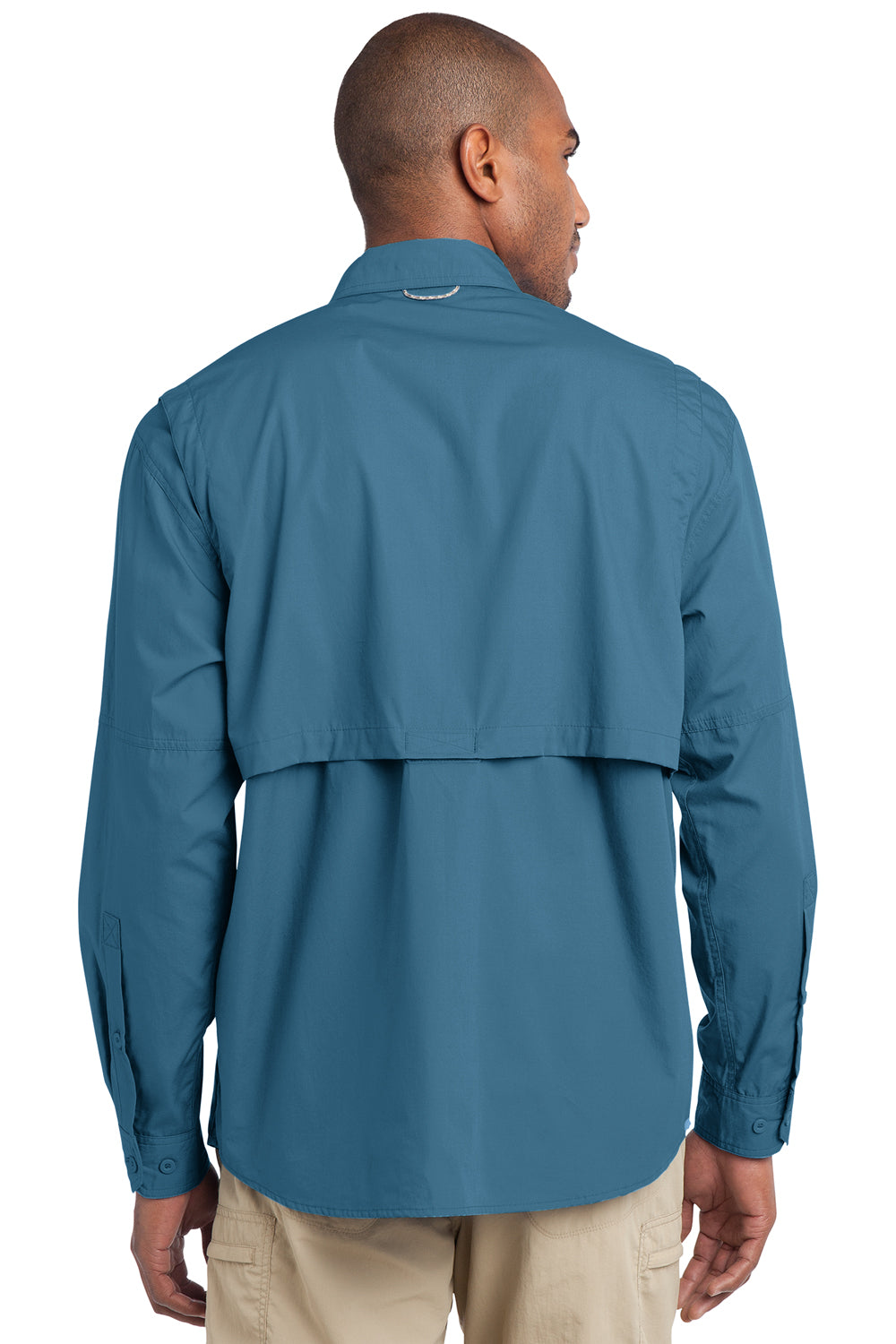 Eddie Bauer EB606 Mens Fishing Long Sleeve Button Down Shirt w/ Double Pockets Blue Gill Back