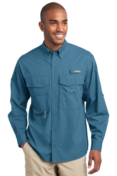 Eddie Bauer EB606 Mens Fishing Long Sleeve Button Down Shirt w/ Double Pockets Blue Gill Front