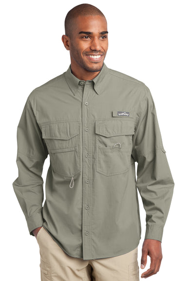 Eddie Bauer EB606 Mens Fishing Long Sleeve Button Down Shirt w/ Double Pockets Driftwood Front
